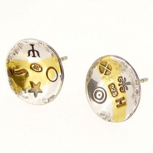 Keum boo small round concave contemporary ear studs